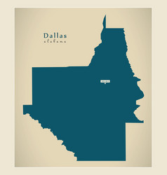 Modern map - dallas alabama county usa vector