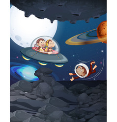 Monkeys playing in space setting vector