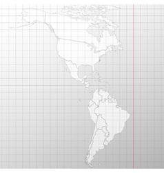 North and South America map background vector image