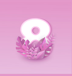 Number eight with pink tree vector