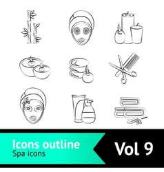 Outline Spa Icons Set vector image