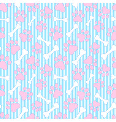 Pattern with paws and bones vector