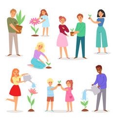 people planting man woman kids character vector image