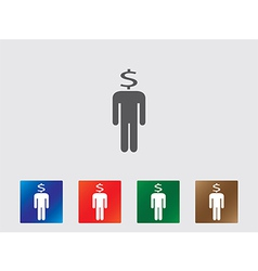 People with money head icons vector