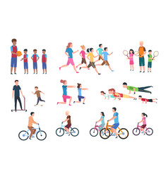 Physical activity people flat fitness set with vector