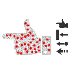 Polygonal carcass hand pointer left icon with vector