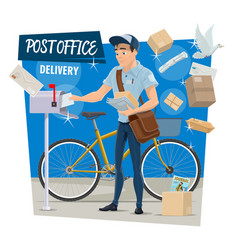 Postman on post mail delivery vector