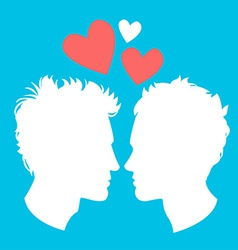 Profiles of two men homosexual couple vector