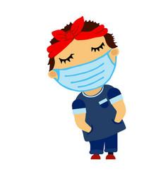 Rapper man in medical mask bandana closed eyes vector