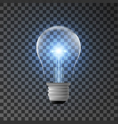 Realistic bulb with shining light vector