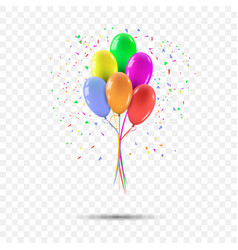realistic colorful balloons bunch of party vector image