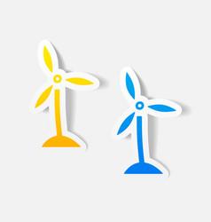 Realistic design element wind turbines vector
