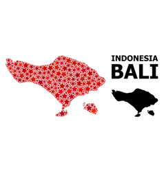 Red star pattern map bali island vector