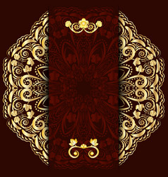 Rich dark background with gold floral mandala vector