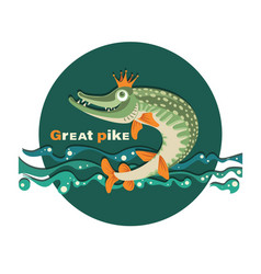 royal fish pike in the crown vector image