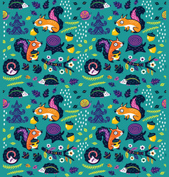 seamless pattern of crazy squirrels with nuts vector image