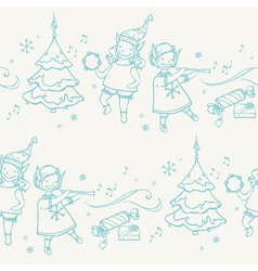 Seamless pattern with Christmas elves musicians vector