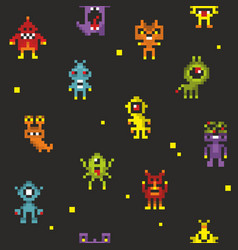 Seamless pattern with cute robots in retro style vector