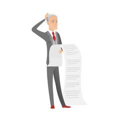 Senior caucasian accountant holding a long bill vector