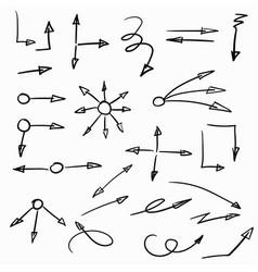 Set hand-drawn arrows vector