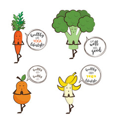 Set of cute fruits and vegetables doing yoga with vector