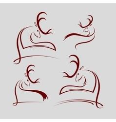 Set of silhouettes deer head vector
