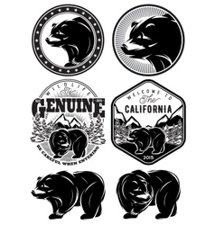 Set of stylish retro badges with bears forest vector