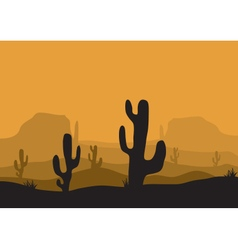 Silhouettes of cactus in the desert vector