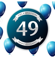 Silver number forty nine years anniversary vector