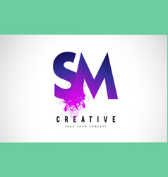 Sm s m purple letter logo design with liquid vector