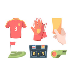 soccer equipment set red shirt football club vector image