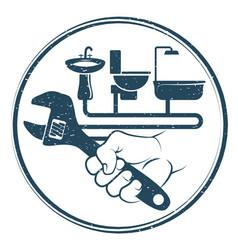 spanner in hand for repairing plumbing vector image