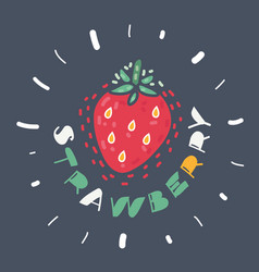 strawberry on dark background vector image