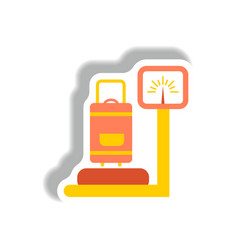 Stylish icon in paper sticker style luggage vector