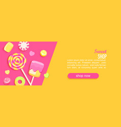 sweet shop horizontal banner with candy vector image