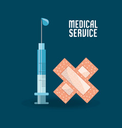 syringe with medicine and aid band vector image