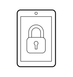 Tablet device with padlock vector