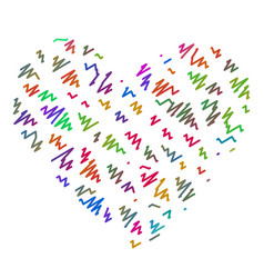 the heart of the colorful zigzag lines markers vector image