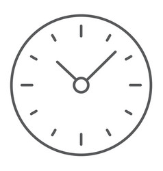 time thin line icon clock and minute hour sign vector image
