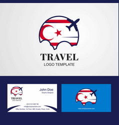 Travel northern cyprus flag logo and visiting vector