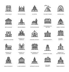 University buildings line icons vector
