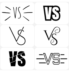 Versus letters logo Black V and S symbols vector