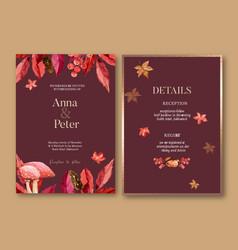 Wedding invitation watercolour design vector