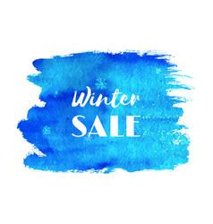 winter sale hand paint blue watercolor texture vector image