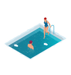 Winter swimming in a frozen river man and woman vector