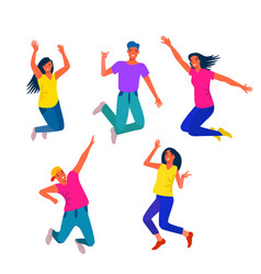 young and happy people are jumping dancing youth vector image