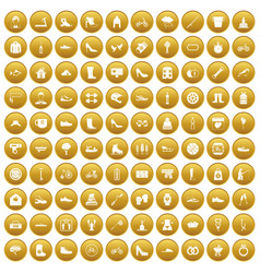 100 shoe icons set gold vector image vector image