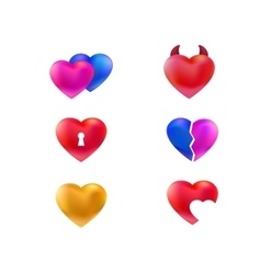 Collection of hearts icons vector image vector image