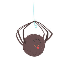 cute cartoon hanging spider character vector image vector image