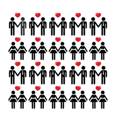Gay lesbian couple icons card vector image vector image